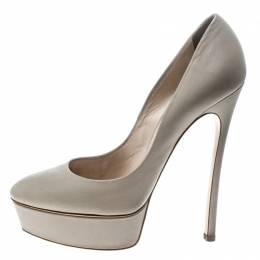 Casadei Grey Leather Platform Pumps Size 39