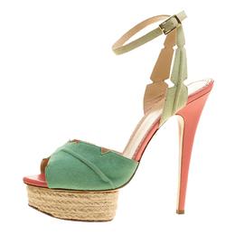 Charlotte Olympia Green Suede Isla Leaf Espadrille Platform Sandals Size 41 136361