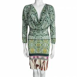 Roberto Cavalli Multicolor Printed Cowl Neck Long Sleeve Dress M 95054