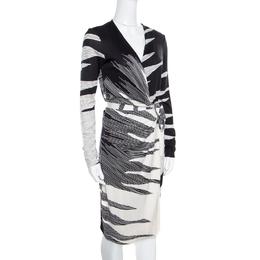Diane Von Furstenberg Monochrome Flame Printed Silk Jersey Valencia Wrap Dress S