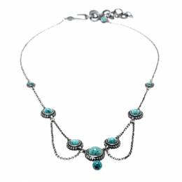 Dior Turquoise Bead Embedded Antique Silver Tone Choker Necklace 195725
