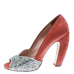 Miu Miu Silver/Pink Coarse Glitter and Suede Peep Toe Pumps Size 38 174552