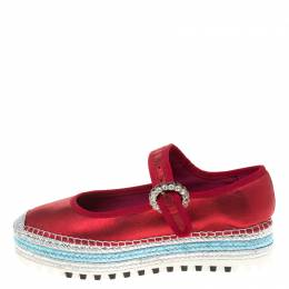 Marc Jacobs Metallic Red Leather Suzi Crystal Embellished Brooch Mary Jane Espadrille Platforms Size 38 180472