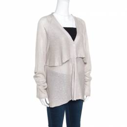 Brunello Cucinelli Beige Sequined Knit Layered Long Sleeve Cardigan XXL 156685