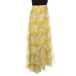 John Galliano Yellow Abstract Printed Silk Maxi A Line Skirt S 157206