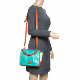 Emilio Pucci Multicolor Snakeskin/Canvas and Leather Top Handle Bag 156139