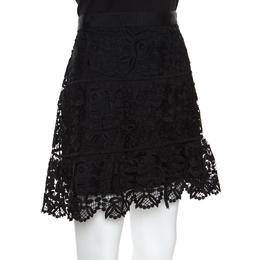 Self-portrait Black Floral Guipure Lace Peplum Mini Skirt M 157023