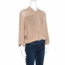 Brunello Cucinelli Camel Brown Chunky Knit Batwing Sleeve Cropped Cardigan XL 156568