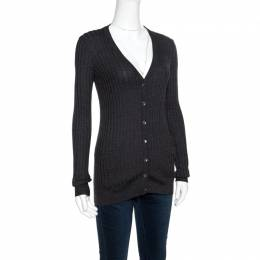 Dolce&Gabbana Dark Grey Rib Knit Button Front Cardigan S 155561