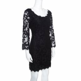 Diane Von Furstenberg Black Floral Lace Zarita Scoop Dress L 156113