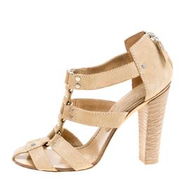 Casadei Beige Suede Gladiator Block Heel Sandals Size 38 157527