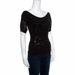 GF Ferre Black Sequin Embellished Plunge Back Neck Top XXS Gianfranco Ferre 155915