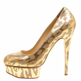 Charlotte Olympia Grey/Gold Leather Platform Pumps Size 38 154881