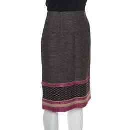 Bottega Veneta Multicolor Patterned Wool Knit Pencil Skirt S 151413
