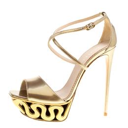 Le Silla Metallic Gold Leather Venus Cross Strap Platform Sandals Size 40 151233