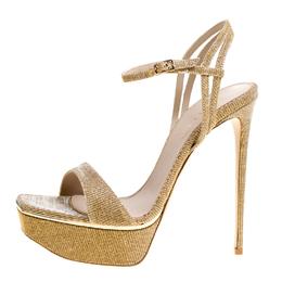 Le Silla Metallic Gold Lamé Glitter Fabric Galaxy Platform Sandals Size 39 153861