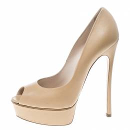 Casadei Beige Leather Peep Toe Platform Pumps Size 39
