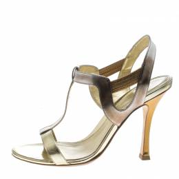 Sergio Rossi Gold Leather T Strap Sandals Size 37 147805