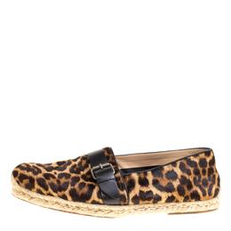 Christian Louboutin Leopard Print Pony Hair Buckle Detail Espadrilles Size 45 147329