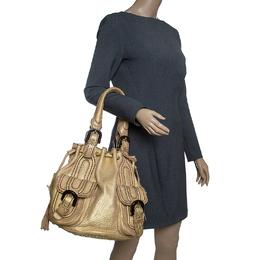 Kenzo Gold Leather Drawstring Studded Bucket Bag 143530