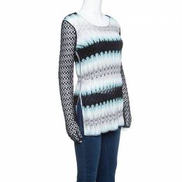 Missoni Multicolor Perforated Knit Long Sleeve Top S 145670