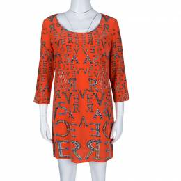 Versace Orange Logo Alphabet Printed Silk Long Sleeve Shift Dress M 139734
