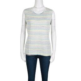 M Missoni Multicolor Striped Floral Crochet Knit Sleeveless Top L 138479