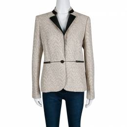 Zadig & Voltaire Beige Lurex Detail Leather Trim Detail Victana Deluxe Blazer M