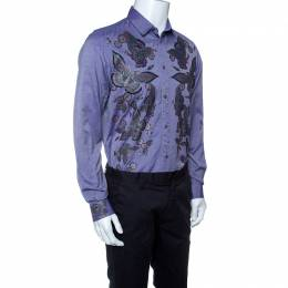 Just Cavalli Purple Butterfly Printed Cotton Long Sleeve Shirt L 142620