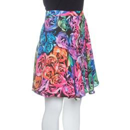 Just Cavalli Multicolor Rose Printed Flared Circular Skirt S 142698
