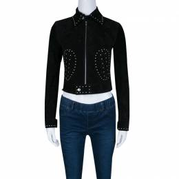 Saint Laurent Black Calf Suede Studded Biker Jacket S 140114