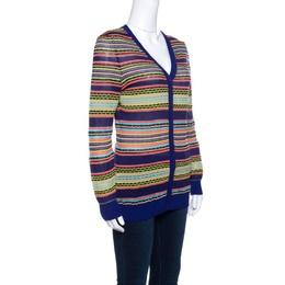 M Missoni Mutlicolor Patterned Knit Rib Trim Cardigan M