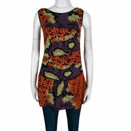 M Missoni Multicolor Honeycomb Patterned Knit Sleeveless Peplum Top M 140160