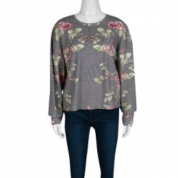 MCQ by Alexander McQueen Rose and Houndstooth Print Long Sleeve Sweatshirt M 138083