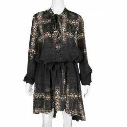 Just Cavalli Black Geometric Print Belted Long Sleeve Dress M 136942