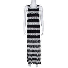 Alice + Olivia Monochrome Striped Crochet Lace Sleeveless Lucia Maxi Dress M 135329