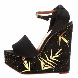Charlotte Olympia Black Canvas Mischievous Peep Toe Embellished Wedge Sandals Size 41 133489