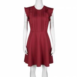 Red Valentino Red Jersey Ruffled Pintuck Detail Fit and Flare Mini Dress M 136561