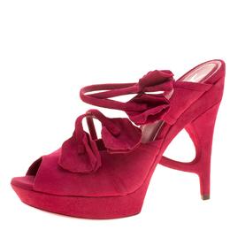 Saint Laurent Paris Magenta Suede Rose Petal Detail Peep Toe Platform Sandals Size 38.5 137169