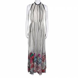Elie Saab Monochrome Striped Silk Floral Print Halter Maxi Dress S 138367