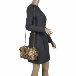 MICHAEL Michael Kors Brown Python Embossed Leather Studded Shoulder Bag