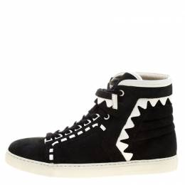 Sophia Webster Monochrome Suede and Leather Riko High Top Sneakers Size 41 137730
