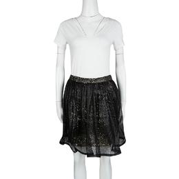 Alice + Olivia Black Mesh Overlay Sequin Embellished Gathered Skirt M