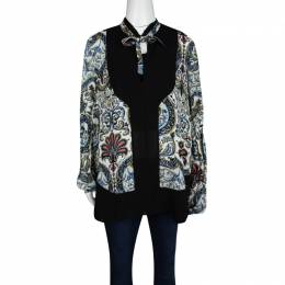 Just Cavalli Multicolour Printed Silk Neck Tie Detail Long Sleeve Blouse M 128517