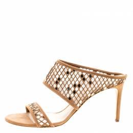 Casadei Beige Suede Laser Cut Peep Toe Sandals Size 41 123594