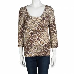 Just Cavalli Brown Animal Printed Knit Top L 101246