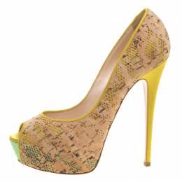 Casadei Tricolor Satin And Cork Lace Peep Toe Platform Pumps Size 40 98611