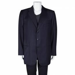 Ermenegildo Zegna Navy Blue Checkered Wool Su Misura Blazer 5XL 102999