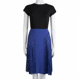 Joseph Cobalt Blue Pleated Lace Detail Courtney Skirt M 83721