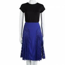 Joseph Cobalt Blue Pleated Lace Detail Courtney Skirt L